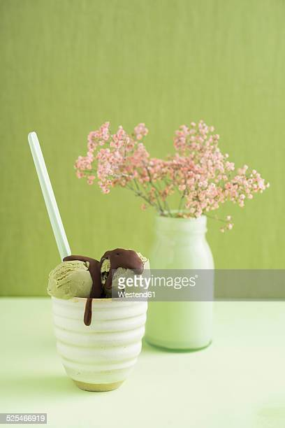 Green tea icecream  with chocolate sauce and Gypsophila flower