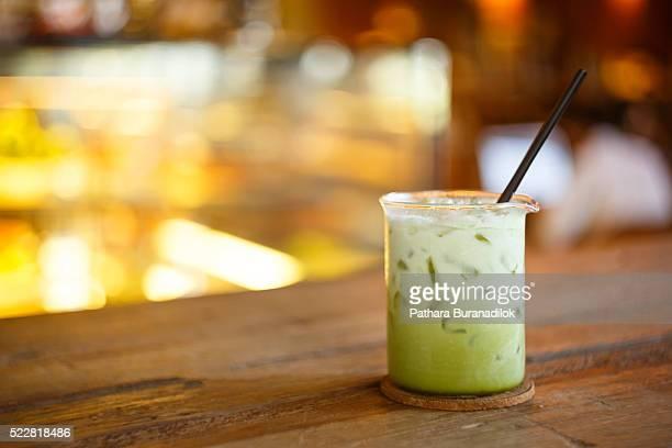 Green Tea Latte in Beaker