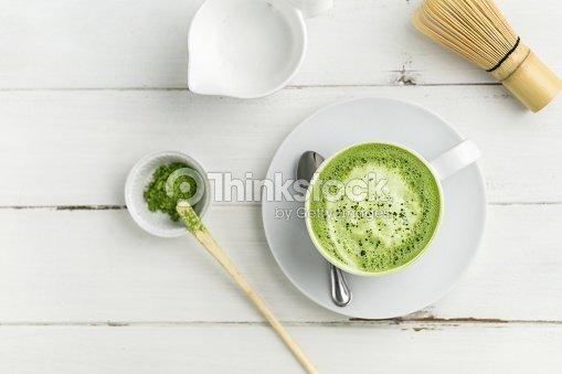 Grüner Tee Matcha Latte Cup Auf Weißem Hintergrund Von Oben Flache