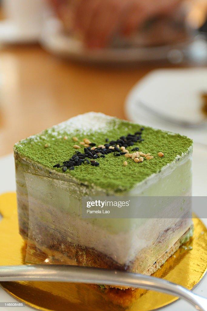 Green tea mousse cake : Stock Photo
