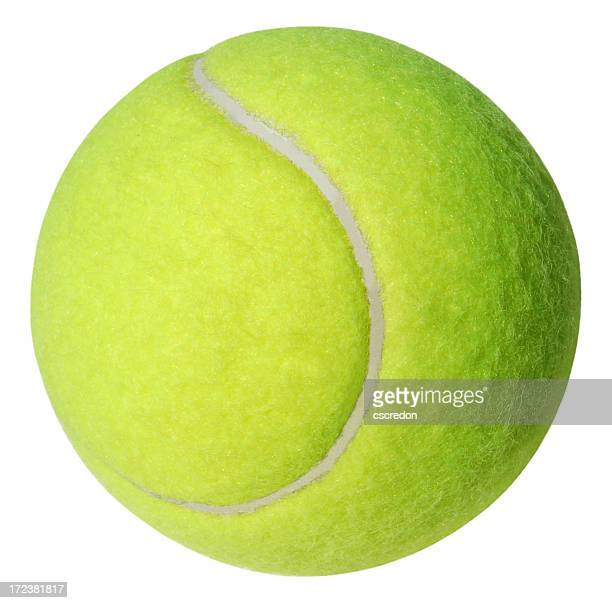 A green tennis ball on a white background