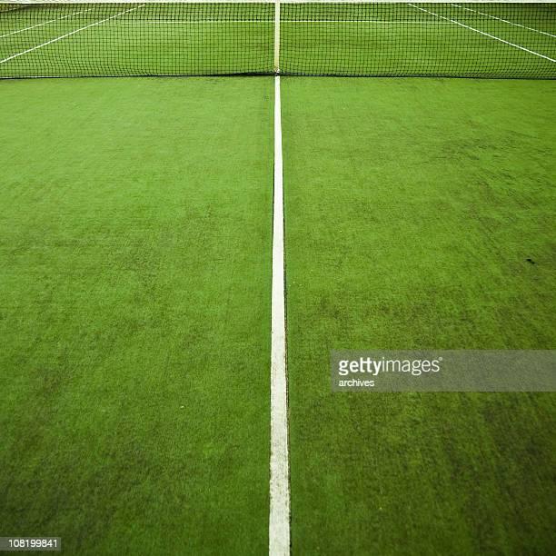 Tennis-Grün mit Netz und weiße Linien