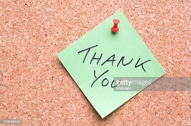 Green Thank You post-it note