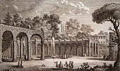 Green theatre in Villa Corsini in Lungara engraving from The Grandeur of Ancient and Modern Rome by Giuseppe Vasi 17th century Book 10 plate 198