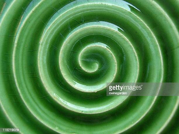 Green tile swirl