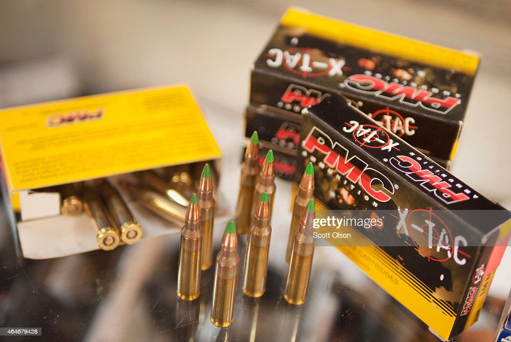 Green tipped armorpiercing 556 millimeter ammunition is offered for sale at Freddie Bear Sports on February 27 2015 in Tinley Park Illinois The Obama...