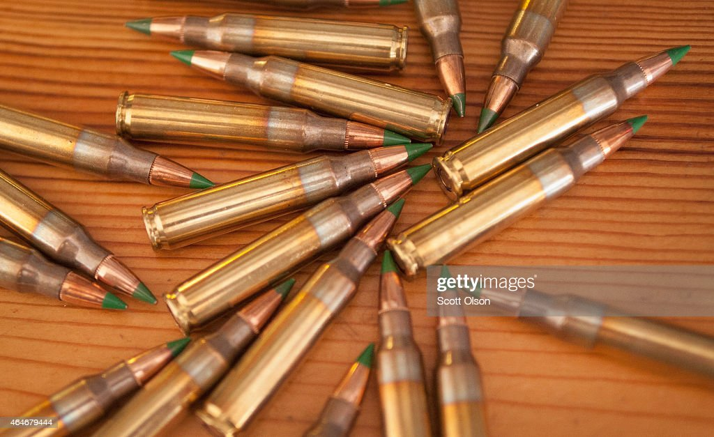 Green tipped armorpiercing 556 millimeter ammunition is shown on February 27 2015 in Chicago Illinois The Obama administration has proposed banning...