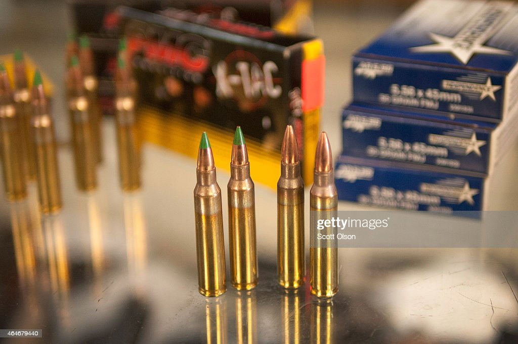 Green tipped armorpiercing 556 millimeter bullets and conventional copperjacketed lead 556 bullets are offered for sale at Freddie Bear Sports on...
