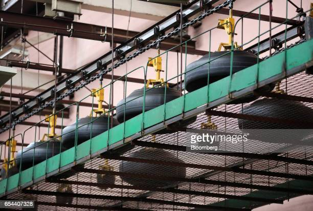'Green' tires move along the production line after being removed from a tireforming machine at the Belshina JSC tire factory in Babruysk Belarus on...