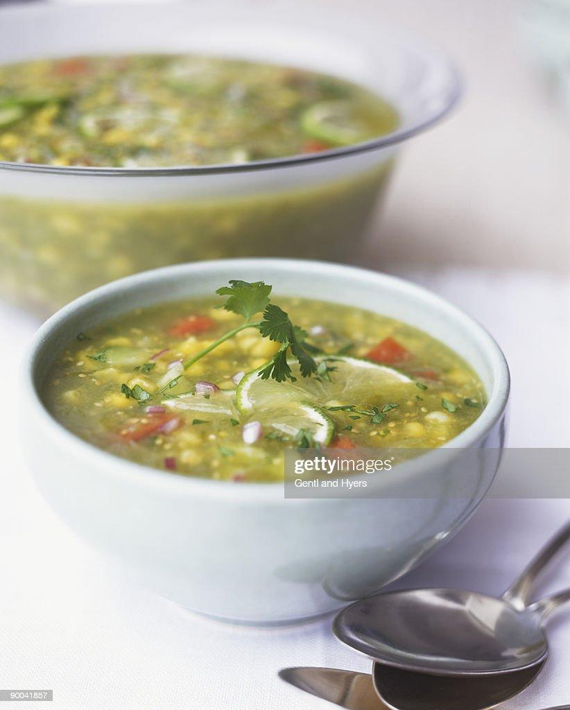 Green Tomato Gazpacho : Stock Photo