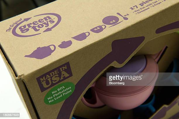 A Green Toys Inc logo is seen on a packaging box at the Central Region Employment Services Center Work Center in San Carlos California US on...