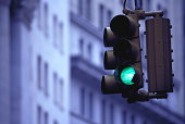 Green traffic light, low angle view