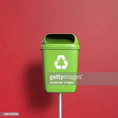 Green Trash with recycling Symbol on red