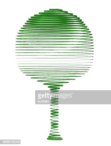 green tree on a white background : Stock Photo