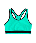 green turquoise neon racerback sports bra top, isolated on white background