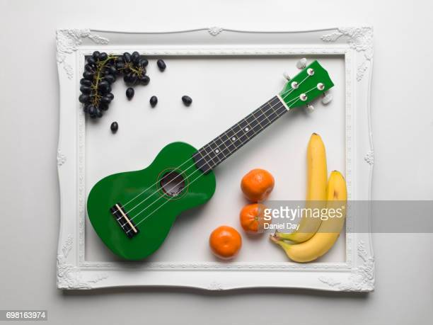 Green ucalaly colourfully displayed alongside fruit within a white picture frame on a white background