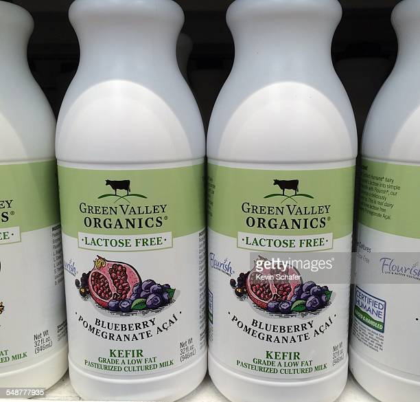 Green Valley Organics bottles of fruitflavored kefir cultured dairy product Blueberry Pomegranate Acai lactosefree