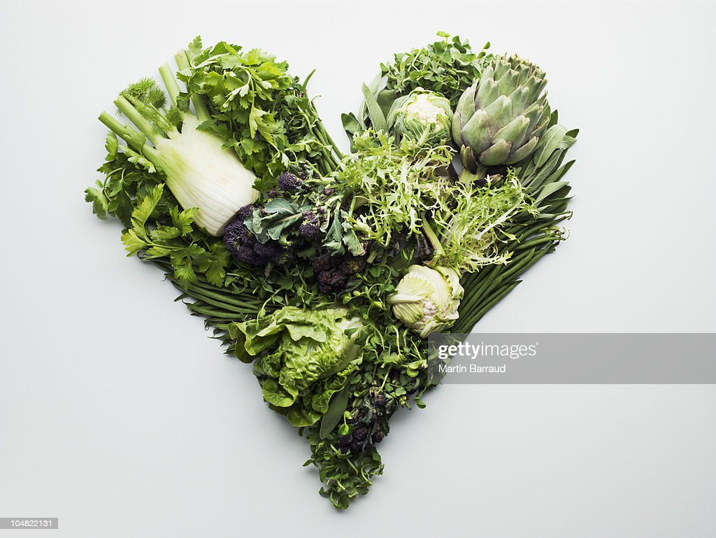 Green vegetables forming heart-shape : Stock Photo