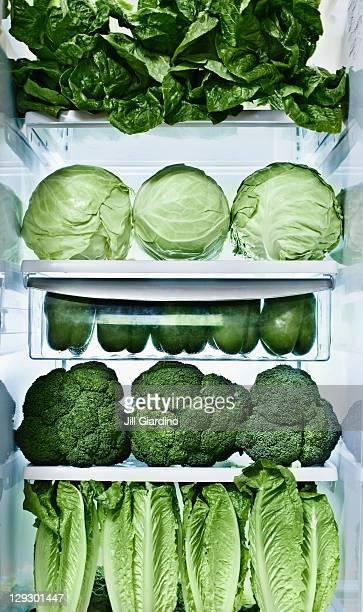 Green vegetables in refrigerator