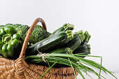 Green vegetables in the basket, farm fresh vegetable from local farmer market, assorted produce isolated on white background