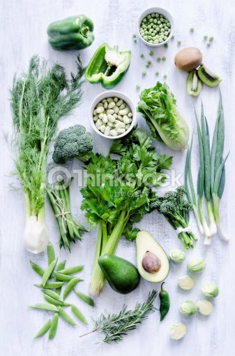 Green Vegetables On White Rustic Background Stock Photo