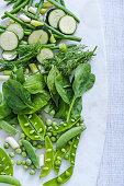 green vegie close up, overhead view