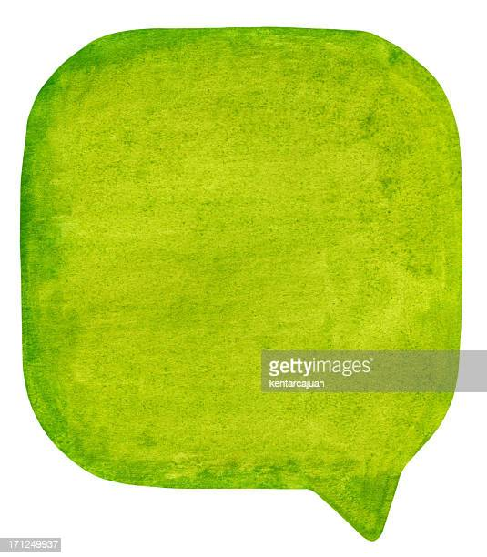 green watercolour speech bubble