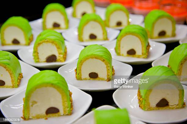 Green, white and brown repetitive dessert shapes