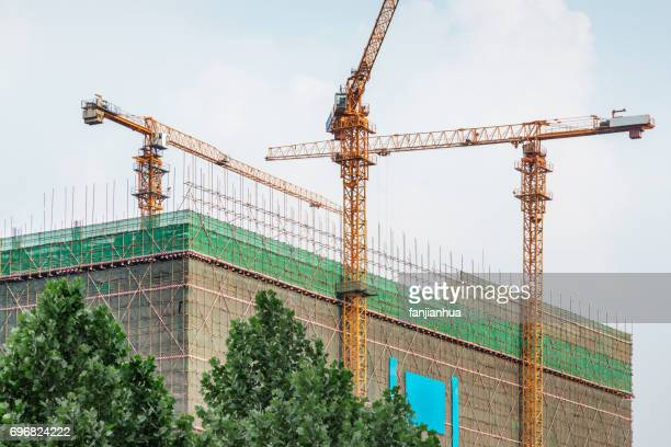 green with urban architecture,detail shot of construction site