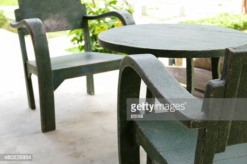 green wooden table and chair : Stock Photo