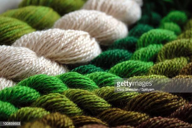 Green yarn skeins