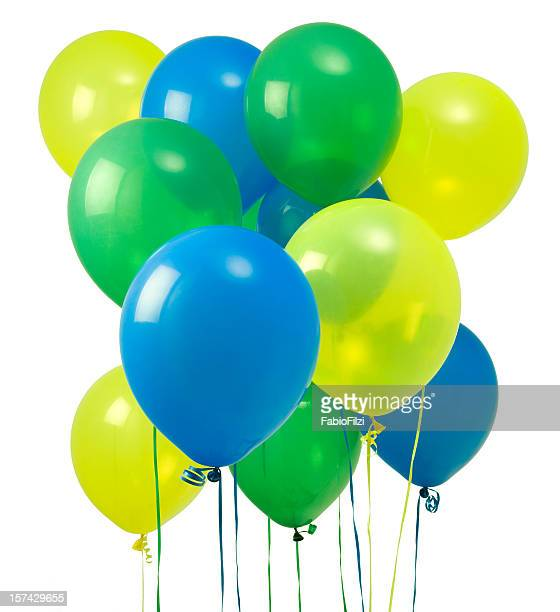 green yellow and blue balloons