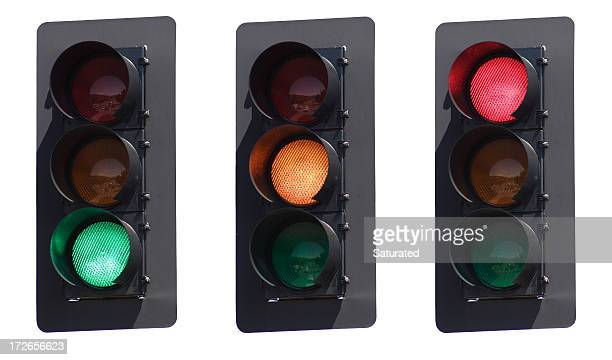 Green, Yellow & Red Traffic Lights (Isolated)