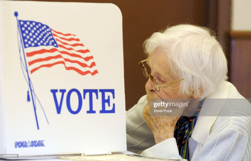 Greene County resident, Frances Schmidt, 91, votes at the Catholic church on Election Day on November 4, 2008 in Grand Junction, Iowa. After nearly two years of presidential campaigning, U.S. citizens go to the polls tonight to vote in the election between Democratic presidential nominee U.S. Sen. Barack Obama (D-IL) and Republican nominee U.S. Sen. John McCain (R-AZ).