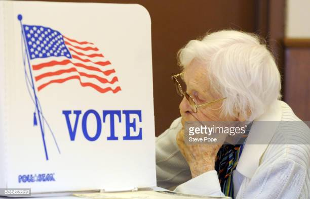 Greene County resident Frances Schmidt votes at the Catholic church on Election Day on November 4 2008 in Grand Junction Iowa After nearly two years...