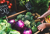 Greengrocer preparing organic fresh agricultural product at farmer market