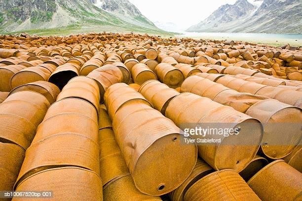 Greenland, Ikateq, abandoned fuel barrels