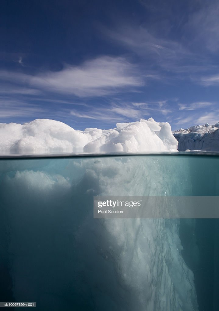 Greenland, Ilulissat, surface level view of icebergs floating in sea : Stock Photo