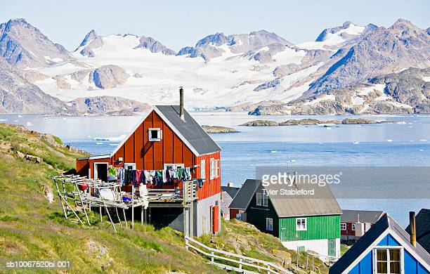 Greenland, Kulusuk, houses with laundry lines
