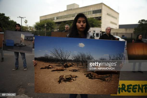 Greenpeace activists demonstrate outside the United States embassy in Buenos Aires Argentina on June 1 against US President Donald Trump's decision...