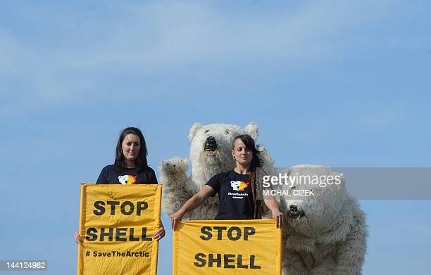 Greenpeace activists dressed in polar bear costumes and others holding banners stage a protest on May 10 2012 on the roof of a Shell petrol station...