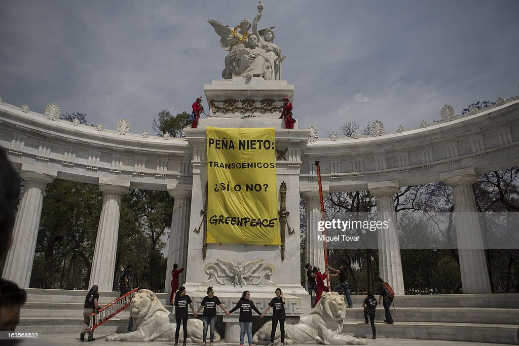 Greenpeace activists hang a banner at the Juarez monument as they take part in a protest against the use of transgenic corn on March 12, 2013 in Mexico City, Mexico.