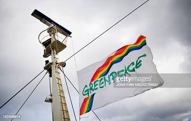 A Greenpeace flag is seen aboard the Koningin Juliana boat near the French energy giant Total's Elgin rig 150 miles from Aberdeen in eastern Scotland...