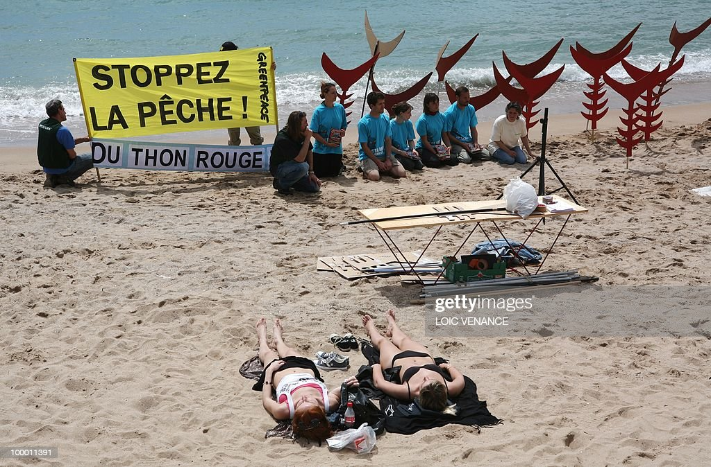 Greenpeace militants hold a banner reading 'Stop Fishing Red Tuna' during an action on the sidelines of the 63rd Cannes Film Festival on May 15, 2010 in Cannes.