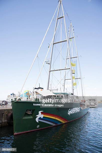 Greenpeace Rainbow Warrior alongside on a visit to Cape Town South Africa