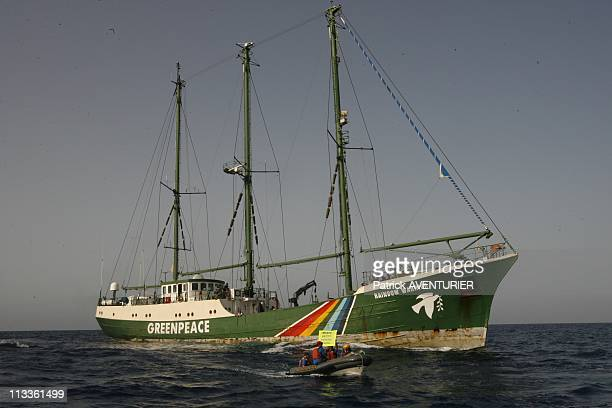 Greenpeace Tries To Save Last Bluefin Tunas At Sea On June 20 2007 The 'Rainbow Warrior' mystic boat of the ong Greenpeace patrols at sea the...