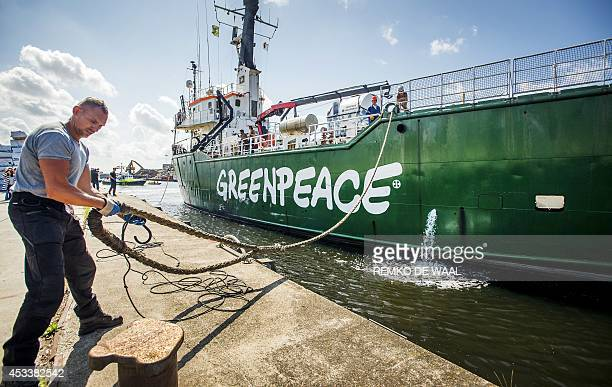 Greenpeace's ice breaker 'Arctic Sunrise' docks in the harbour of Beverwijk The Netherlands on August 9 after returning from Murmansk Greenpeace's...