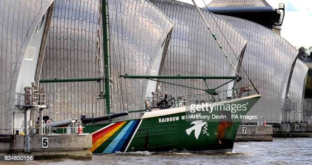 Greenpeace's iconic protest ship The Rainbow Warrior sails up the Thames as part of the environmental group's campaign against the building of new...