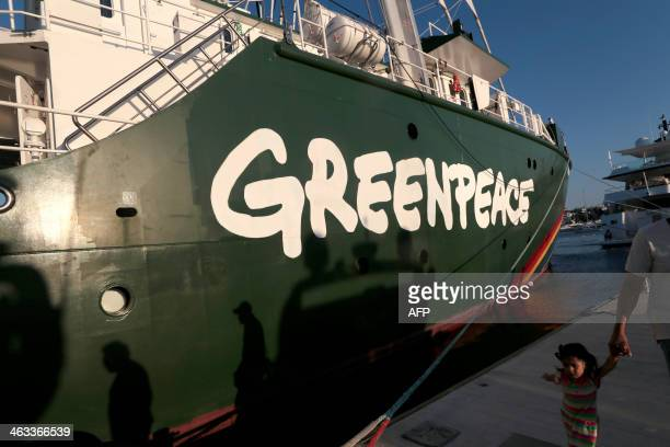 Greenpeace's Rainbow Warrior campaigning ship remains docked in the port of Acapulco state of Guerrero Mexico on January 17 2014 AFP PHOTO / Pedro...