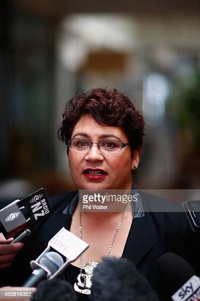 Greens coleader Metiria Turei speaks to media at St Kevins Arcade on September 21 2014 in Auckland New Zealand Last night National Party leader John...